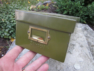 Vintage Samson Industrial Small Parts Bin 3x5 card File Green Box