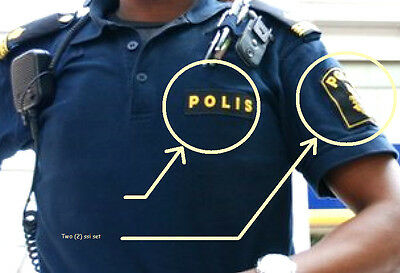 FANCY DRESS COSTUME movie GIRL PLAYED w/FIRE SWEDISH Polisen POLICE INSIGNIA SET