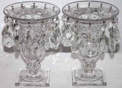 "Antique Pair Of Heisey ""ipswich"" Cut Crystal Victorian Urn Lusters W/ Prisms."