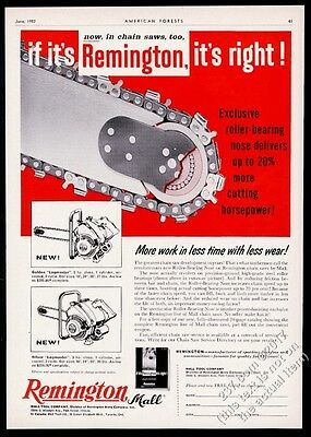 1957 Remington Mall chain saw photo vintage trade print ad