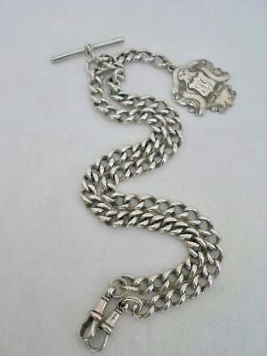 Long Solid Sterling Silver Double Albert Watch Chain & Fob Medal.
