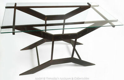 Vintage 1970's Designer COFFEE TABLE Patina Brass Bronze Colour Glass Geometric