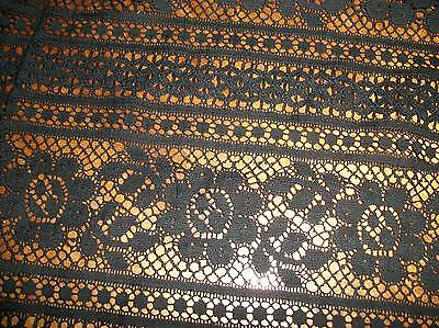 British Manufactured Little Black Dress Lace Floral Stripe Fabric Couture Vogue
