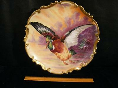 """Antique Limoges France Porcelain 13"""" Charger Plate With Painted Duck"""