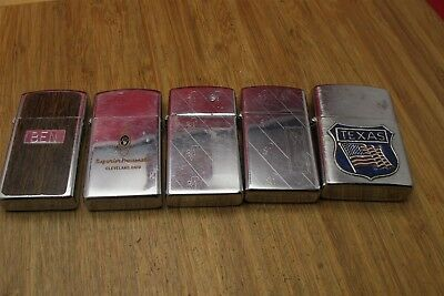 Lot of (5) Vtg Estate lighters (4) are slim Zippo Nice