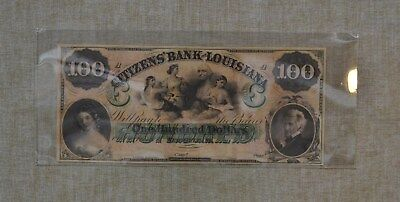 1857 100 Dollar Note - Citizens Bank Of Lousiana - Obsolete Currency - Au/unc  $