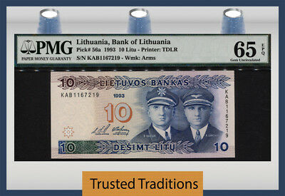 "TT PK 56a 1993 LITHUANIA 10 LITU ""STEPONAS & STASYS"" PMG 65 EPQ GEM UNCIRCULATED"