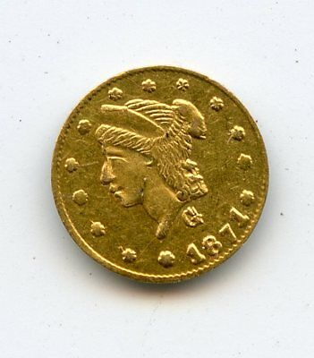 1871 G 1/4 DOLLAR CAL GOLD ROUND~ EXTRA FINE DETAIL,REVERSE SCRATCHES ~  *hucky*