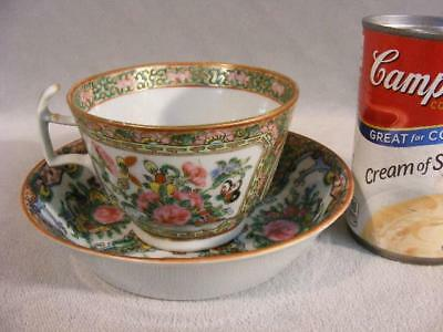 Large Antique Chinese Rose Canton Cup & Signed Saucer - Butterflies