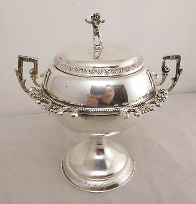 Lovely Antique 800 Fine Silver Nude Cherub Angel Floral Flower Caviar Fish Bowl