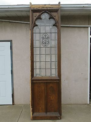 XL Antique Victorian Gothic Tiger Oak  Church Lead Glass Window Door Partition F