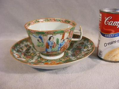 Oversized Antique Chinese Export Rose Medallion Cup & Large Saucer