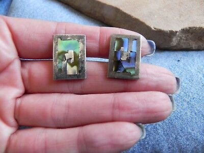 Abalone & Sterling Silver .925 Inlay Cufflinks Taxco Mexico signed TLR