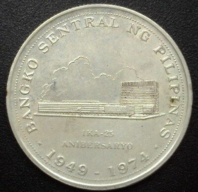 Philippines 1974 Silver 25 Piso  Km#204  Near Choice Uncirculated