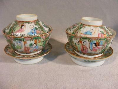 Pair Antique Chinese Export Rose Medallion Covered Rice Bowls & Ring Bases
