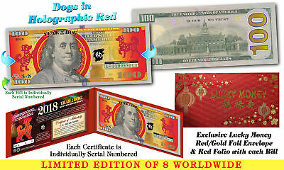 2018 Chinese New Year $100 US Bill YEAR OF THE DOG Red Hologram Numbered 3 of 8