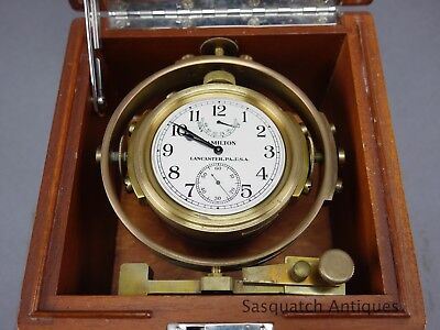 Wwii Navy 1943 Dated Bu Ships Hamilton Model 22 Deck Chronometer Free Shipping !
