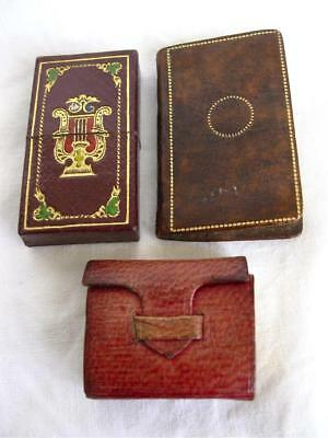 Three Antique Miniature Leather Writing/Desk Items