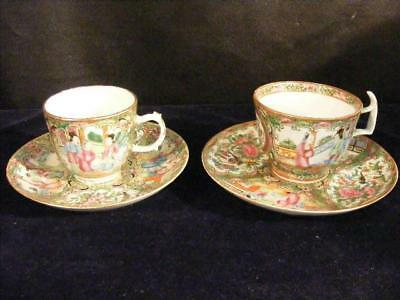 2 Fine Antique Chinese Export Rose Medallion Bat Wing Cups & Saucers