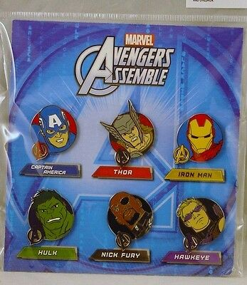 Disney Trading Pins Marvel AVENGERS ASSEMBLE Booster Set of 6 *NEW*
