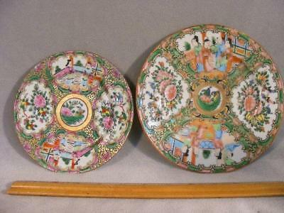 """2 Fine Antique Chinese Export Rose Medallion Plates To 7.25"""""""