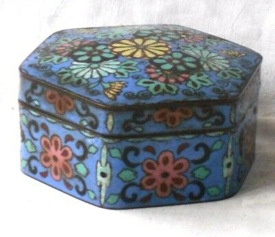 C19Th Chinese Cloisonne Hexagonal Box And Cover Decorated With Flowers