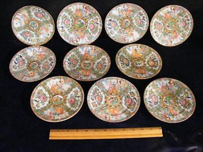 Set 10 Antique Chinese Export Rose Medallion 6 Inch Plates
