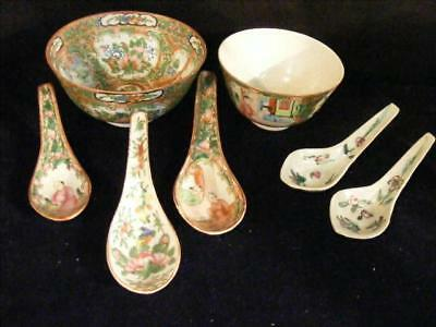 2 Antique Chinese Export Rose Medallion Bowls & 5 Spoons