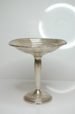 Antique Vintage Footed Sterling Silver Weighted Compote Dish Bowl - 156g