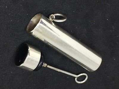 solid silver perfume Flask Fob With Applicator For a Chatelaine Governess 47mm