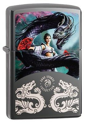 """Zippo """"anne Stokes Lady & Dragon"""" Black Ice Color Lighter ** New **"""