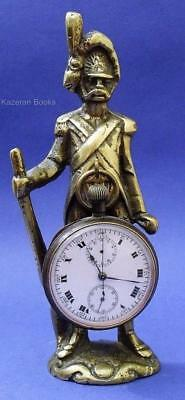 Antique Heavy Brass Fob Pocket Watch Hanging Frame Stand Of Napoleonic Soldier