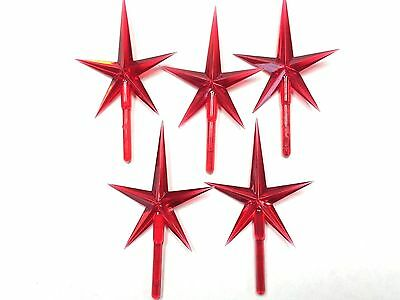 Ceramic Christmas tree top medium red plastic stars lot of 5