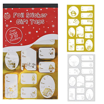 75+ Christmas Sticker Gift / Present Tags - Foil Gold & Silver Designs
