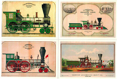 USA LOCOMOTIVES Set of 9 postcards published in Russia in 2014