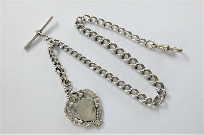 Antique Silver Pocket Watch Albert Chain With Silver Shield Fob T-Bar & Dog Clip