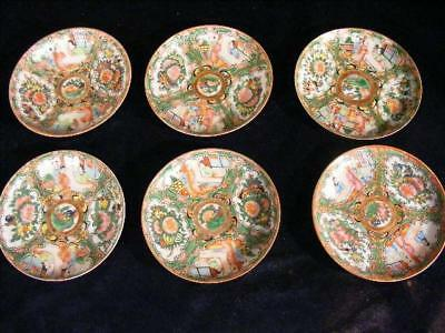 """Set 6 Antique Chinese Export Rose Medallion 5.5"""" Saucers / Plates"""