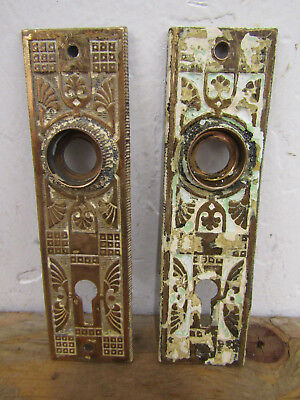 Antique Pair (2) Small Solid Brass Back Plates Escutcheons C.R.E.1888 528 VTG A