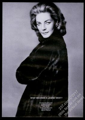 1968 Lauren Bacall photo by Richard Avedon Blackglama fashion vintage print ad