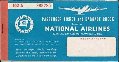 National Airlines Us Aviation Passenger Ticket 1952