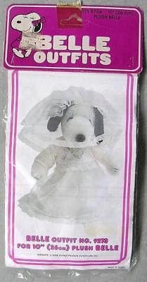 "Vintage Peanuts SNOOPY BELLE 10"" PLUSH WEDDING DRESS Outfit Sealed MIP"