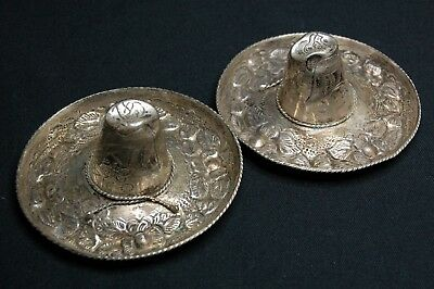 Vintage Repousse Solid 925 Sterling Silver Mexican Sombrero - Pair - 35g