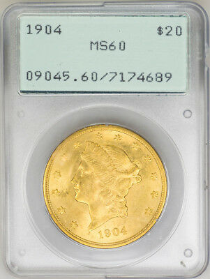 1904 $20 Gold Liberty Head, Double Eagle - PCGS MS60 OGH! Rattler PQ++ US Coin