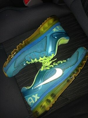 Nike Air Max Running Shoes Size 7 Blue Neon Workout Yellow Women Sneakers Tennis