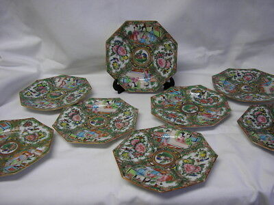 8 Chinese Rose Medallion 5 3/4 in. Plates-8 Sided