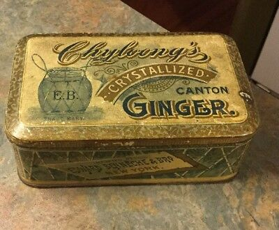 Vintage CHYLOONG'S CRYSTALLIZED CANTON GINGER Tin Edward Benneche & Bro NY