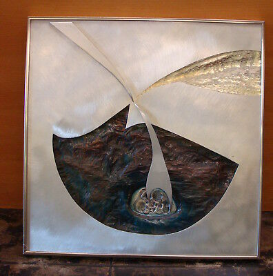 Vintage Abstract Metal Art Sculpture Signed Dale Clark Modernist Stainless Steel