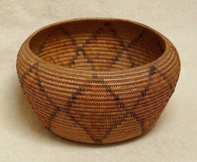 Antique Finely Coiled California Mission Native American Indian Basket Bowl
