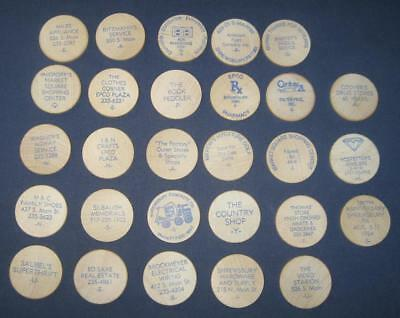 28 Vintage Shrewsbury York County Pa Wooden Nickel Tokens With Advertising