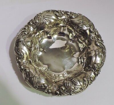 Antique Whiting Sterling Hand Chased Deep Flower Repousse Bowl 66 Grams